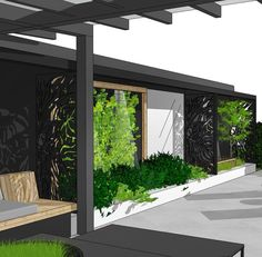 🌿Sneek peek🌿 Ongoing design project.  The neighbour's grey concrete garage wall is getting a huge makeover ;-)  Tips:  Use mirrors to reflect light, create a feeling of depth and space in your garden, and also to mirror plants in front of the reflecting surface✨  .  .  #gardendesign #gardendesigner #mydesign #lacercutscreens #mirror #outdoordesign #uterom #hage #hagedesign #outdoorspace #speil