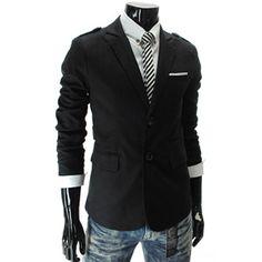 (CJK1-BLACK) 2 Button Shoulder Strap Stretchy Jacket