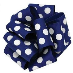 """Polka Dot Wire Edge Ribbon 2.5"""" x 10 yards Royal Blue White Wire Edge 100% Polyester Be the center of attention! Playful and modern,you'll definitely want to keep this perky polka-dot"""