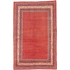 ecarpetgallery Hand-Knotted Arak Red Wool Rug (5'11 x 9'5) (Red Rug (5' x 9')), Blue, Size 5' x 9' (Cotton, Abstract)