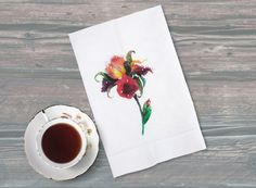 Iris Tea Towel with Rhinestones Kitchen Decor by GreatlookzFashion