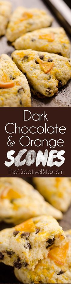 Dark Chocolate & Orange Scones are soft and tender cake-like treats with a bright citrus flavor paired with rich dark chocolate. Whether you serve them for breakfast, brunch or dessert, they are sure (Chocolate Orange) Brunch Recipes, Breakfast Recipes, Breakfast Scones, Biscuits, Dark Chocolate Orange, Orange Scones, Delicious Desserts, Yummy Food, Clotted Cream
