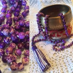 by MalasByTini on Etsy Beaded Tassel Necklace, Jasper, Tassels, Sea, Gemstones, Rock, Purple, Etsy, Gems