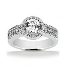 14k White Gold Diamond Accented Engagement Ring Containing 0.6 Carats Of Diamonds In Hi Color And Si1-si2 Clarity