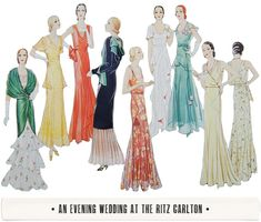 Formal dress trends from the 1930s include: bias-cut skirts hug the waist and hips, then drape loosely below the knee tiered ruffles or diagonal-tiered layers in the skirt fabrics such as velvet, silk, fine rayon, or sheer cotton would be acceptable sleeker, more elegent styles with finer attention to detail than casual dresses