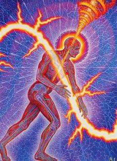 """Lightworker"" by Alex Grey oil on linen, 114 x 90 in. Tantra, Alex Grey Paintings, Art Paintings, Karma, Alex Gray Art, Sacred Geometry Art, Geometry Tattoo, Spiritual Gifts, Process Art"