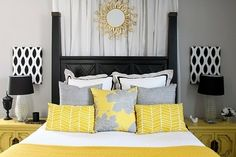 This pic inspires me on the colors I want for my bedroom. Grey walls, yellow/white/grey bed spread, and black bedroom furniture! by fgueterm...