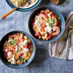 Greek Shrimp with White Beans, Tomato Sauce, and Feta | MyRecipes.com