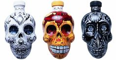 Decorated sugar skull Tequila bottles