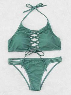 8b4a17221 Criss Cross Ladder Cutout Halter Bikini Set