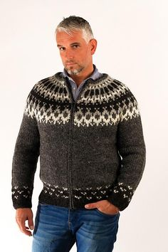 Skipper Wool Cardigan w/Hood Black - Icelandic Sweaters - Wool Sweaters - 1 Icelandic Sweaters, Wool Sweaters, Wool Cardigan, Black Cardigan, Sweater Shop, Men Sweater, Cardigan Design, Country Attire, Unisex Fashion