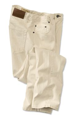 """Built right. Built here. Orvis men's jeans embody the American artisanal spirit and have been designed from the ground up to deliver unsurpassed quality with a modern, comfortable fit. Our natural denim jeans feature a vintage twill finish for a rugged, slightly raw look. Orvis log rivets, Orvis patch on the back. """"Trust your fly"""" woven taping detail in the fly facing. Metal shank closure. In natural. Cotton/elastane. Washable. Cadiz, Kentucky. <br />Even waist sizes 32-42. Inseam 30, 32…"""