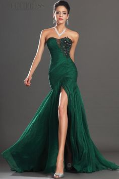 Strapless Trumpet/Mermaid Split-Front Zippered Court Train Evening Dress... :)