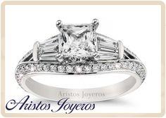 Distinguido diseño de anillo de compromiso en oro blanco 14kl y diamantes, una hermosa opción para ti!!