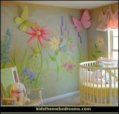 Decorating theme bedrooms - Maries Manor. I like the 3D look of the butterflies on the walls... maybe make the flower petals pop out too?