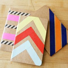 Use washi tape to dress up any plain notebook, perfect for personalizing and for gifts.
