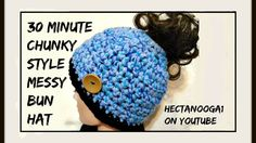 "LAST MINUTE GIFTS!!! 30 minutes to make this chunky style messy bun or pony tail hat! See the video here: <a href=""https://www.youtube.com/watch?v=IU43Q-x652k"" rel=""nofollow"" target=""_blank"">www.youtube.com/...</a> and get the FREE PATTERN, in the link below the video!! Woo hoo... Christmas Gifts a plenty coming up!!"
