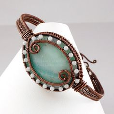 Amazonite and Copper Bangle Bracelet by GailaviraJewelry on Etsy, $70.00