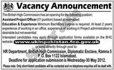 Assistant Project Officer Required in British High Commission at Islamabad