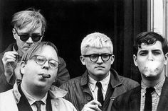 The usual cool suspects: Andy Warhol, Henry Geldzahler, David Hockney and David Goodman, 1963, photographed by Dennis Hopper.--Tumblr