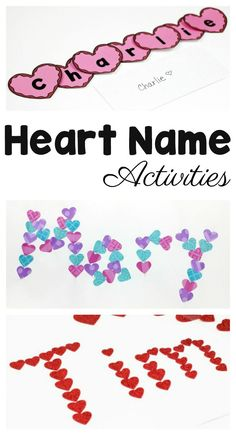 These heart name crafts are perfect for Valentine's Day! Teach children letters using their names as a springboard for learning. These heart name activities work on fine motor skills and a variety of early literacy skills.