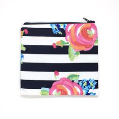 Medium Stripped Rose Zipper Pouch Bridesmaid Gift Striped