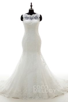 Hot Sale Trumpet-Mermaid Illusion Dropped Chapel Train Tulle Ivory Sleeveless Zipper With Buttons Wedding Dress Appliques CWXT16008 #weddingdress #cocomelody