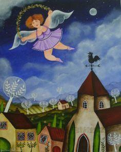 Even Angels do Ballet Naive Art, Fantastic Art, Africa, Ballet, Illustration, Artist, Painting, Angels, Portrait