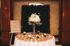 wedding guest favors on table with floral arrangement by GIF Floral and Event Design-Eagle Creek Golf Club wedding in Orlando, FL-Photo: Rudy and Marta Photography-Orange Blossom Bride