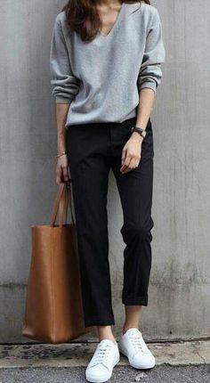 Cute casual outfit – black and gray. – Wearing sneakers wi… Cute casual outfit – black and gray. – Wearing sneakers with an outfit and looking stylish. Fashion Mode, Look Fashion, Street Fashion, Trendy Fashion, Korean Fashion, Fashion Black, Womens Fashion, Fashion Ideas, Fall Fashion