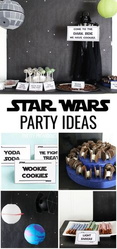 These Star Wars party ideas are awesome! There's Star Wars food, decorations and games to play! Perfect for a birthday or May the 4th party! #starwars #starwarsparty #maythe4th #maythefourth #freeprintable #starwarsideas #partyideas #party #starwarsfan #starwarspartyideas #starwarsfood #lightsabers #yodasoda #wookiecookies #tiefightertreats