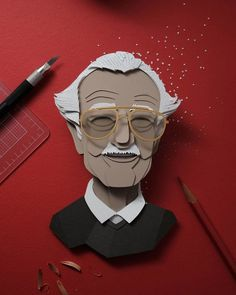 5 Stan Lee Portrait Made Entirely Out of Paper inspired by his Big Hero 6 cameo done by John Ed De Vera ( Cut Paper Illustration, Illustration Sketches, Cut Out Art, Logos Retro, 3d Paper Art, Photo Images, Pop Culture Art, Story Instagram, Instagram Posts