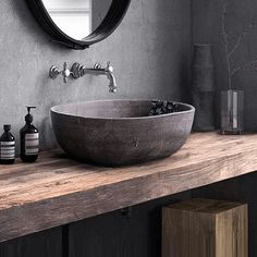 """Bring gorgeous antique design to your bathroom or wash room with the stunning Laila - Vintage Antique Cement Wash Basin. Made from glazed ceramic. Measures approximately 20.5"""" x 15"""" x 6"""" Capacity of 12 liters / 3 gallons. Counter top sink installation required. Faucet not included. Industrial Bathroom Design, Bathroom Design Luxury, Rustic Bathroom Designs, Bathroom Sink Design, Modern Industrial Decor, Modern Bathroom Sink, Modern Sink, Best Bathroom Designs, Vintage Industrial"""