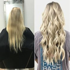 Before & after Bombshell Extensions!  Natural beaded rows using our weft in color 60!  #bombshellextensions #naturalbeadedrows #hairstylist #beachwaves #blondehair #hairextensions
