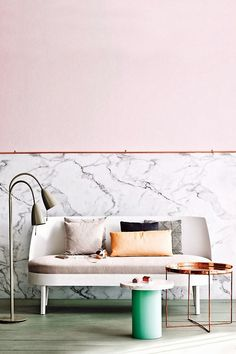 9 clever coffee table alternatives for small spaces. Stylish upgrades to your living room staple like mismatched side tables, lucite chest or cushioned stool with tray. For more living room furniture ideas and home decor alternatives go to Domino. Coffee Table Alternatives, Copper And Marble, Pink Marble, Black Marble, Marble Wall, Pink Room, My New Room, Room Colors, Wall Colors