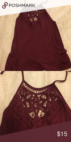 Deep red tank with design NEVER WORN! Low back tank with halter spaghetti straps. Pretty ace design! Full Tilt Tops Camisoles