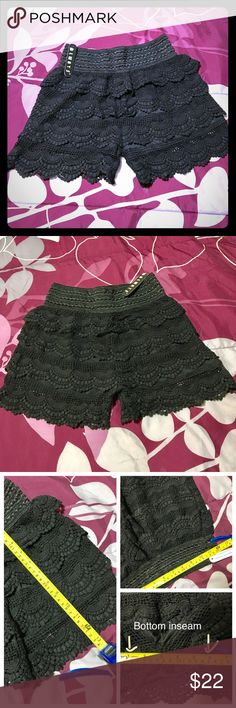 "Black Crochet Laced Tiered Fashion Shorts NWT- Size Medium. Waist length approx 24"" around (stretch band waist to give more comfort fit). Shorts length is approx 13"". Bottom inseam is approx 6"" across (all pictured). Casual or dressy wear.                              ❕TOP RATED SELLER❕                 FAST SHIPPING‼️                Quick Responses!                Bundle to save 15%! Always Shorts"
