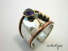 Handmade adjustable Ring of sterling silver, copper, brass and semiprecious stone inspired from ancient Greece on Etsy, $63.55