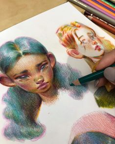 Kunst Inspo, Art Inspo, Art And Illustration, Cool Art Drawings, Drawing Sketches, Arte Sketchbook, Polychromos, Color Pencil Art, Aesthetic Art
