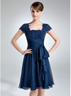 A-Line/Princess Square Neckline Knee-Length Chiffon Lace Mother of the Bride Dress With Ruffle (008006166) - JJsHouse