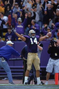 Jerramy Stevens of the Washington Huskies celebrates in the endzone during the game against the Miami Hurricanes at the Husky Stadium in Seattle...