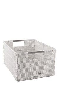 This vertical weave utility basket is super durable, made with strong plastic piping on a wire frame with metal handles. Handy for storage, waterproof and