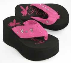 it would be weird walking in these Wedge Flip Flops, Flip Flop Sandals, Swag Girl Style, My Style, Playboy Logo, Malibu Barbie, Playboy Bunny, Pink Shoes, Swag Outfits