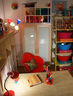 My art studio. Red desk lamp: Target Medusa Lamp: Lumisource Shelving: and Ikea desk: Ikea Ikea Desk, My Art Studio, Medusa, Art Studios, Desk Lamp, Floor Lamp, Shelving, My Arts, Tiffany