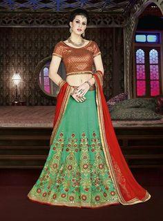 78c72702a32e9b Green Lehenga, Net Lehenga, Lengha Choli, Silk Dupatta, Choli Designs,  Lehenga