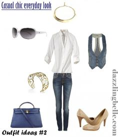 Outfit idea- casual everyday look with white shirt and denims