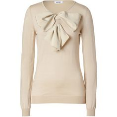 MOSCHINO Beige Big Bow Embellished Wool Pullover - Polyvore