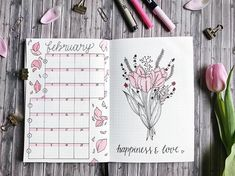 Bullet journal monthly calendar, bullet journal vertical grid calendar, flower drawing, flower petal drawing. | @thuys.bujo