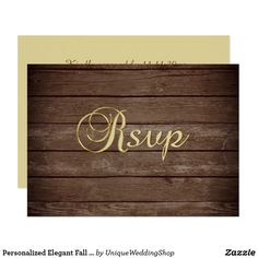 Personalized Elegant Fall Rustic Wood RSVP Wedding Card Elegant and modern gold topography and rustic wood country RSVP wedding response cards. Editable templates - add your text. Contact designer for other variations. Found in 'FALL IN LOVE - COUNTRY' Wedding Collection.