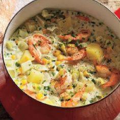 Shrimp and Corn Chowder @keyingredient #vegetables #shrimp #bread